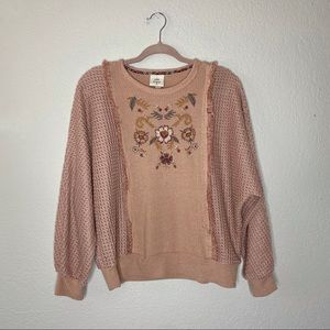 Knox Rose Sweaters - Knox Rose embroidered Henley sleeve sweater